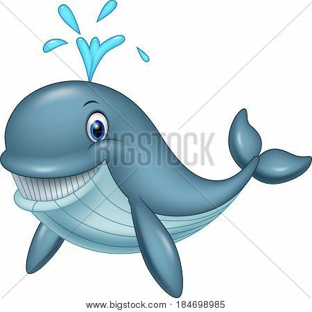 Vector illustration of Cartoon funny whale on white background