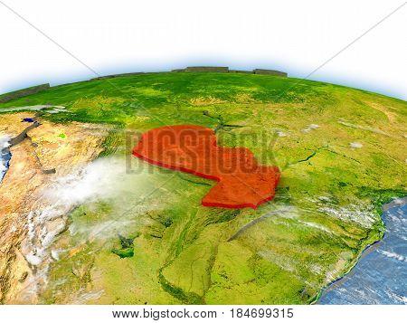 Paraguay On Globe