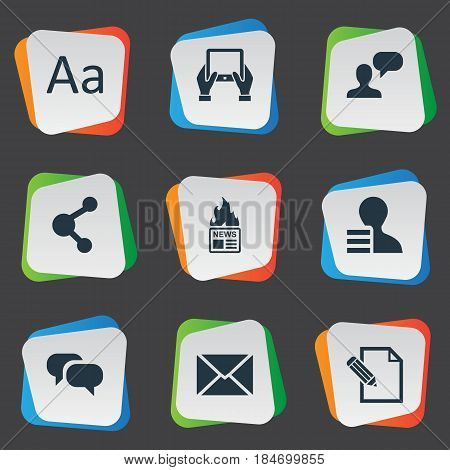 Vector Illustration Set Of Simple Newspaper Icons. Elements Gain, Man Considering, Gazette And Other Synonyms Gain, Epistle And Share.