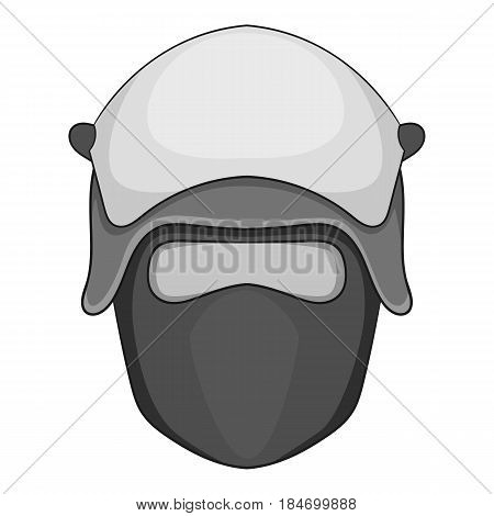 Policeman head in a face mask icon in monochrome style isolated on white background vector illustration