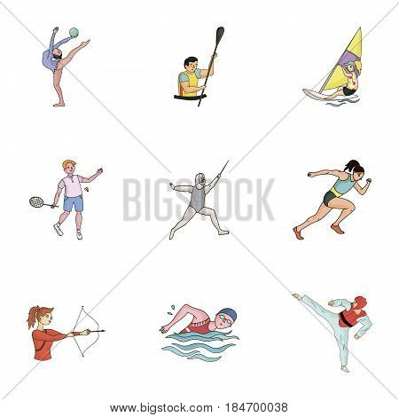 Olympic sports. Winter and summer sports. A set of pictures about athletes.Olympic sports icon in set collection on cartoon style vector symbol stock web illustration.