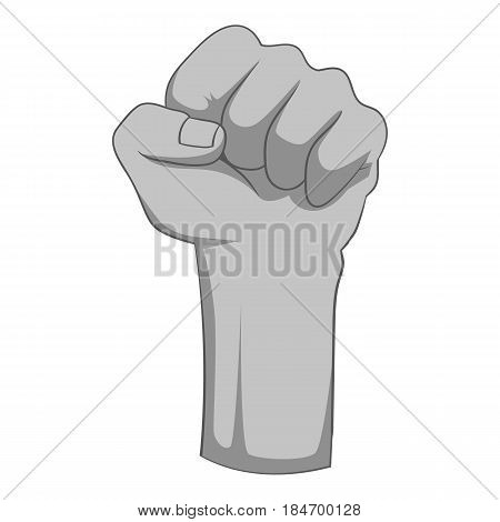 Raised up clenched male fist icon in monochrome style isolated on white background vector illustration