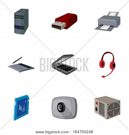 Computer accessories. Headphones, computer parts, accessories.Personal computer icon in set collection on cartoon style vector symbol stock web illustration.