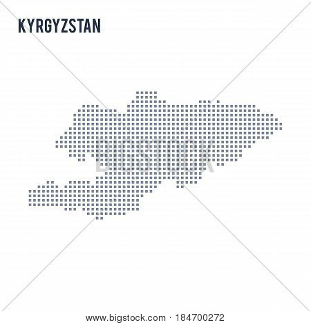 Vector pixel map of Kyrgyzstan isolated on white background . Travel vector illustration