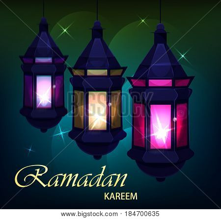Ramadan Kareem beautiful greeting card with traditional Arabic lanterns on colored blurred background. Usable for Eid Mubarak. Stock vector