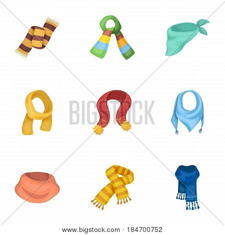 Beautiful woolen, silk-colored warm scarves of shawls. scarves and shawles icon in set collection on cartoon style vector symbol stock web illustration.
