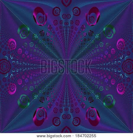 Abstract geometric background. Regular spiral pattern in purple, blue and green shades, ornate and centered.