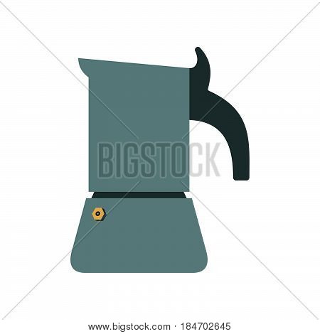 Geyser coffee maker in colour on white background