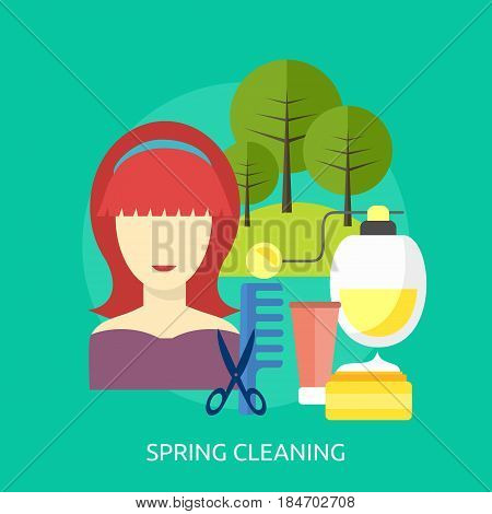 Spring Cleaning Conceptual Design | Great flat illustration concept icon and use for healthy, beauty, fashion and much more.