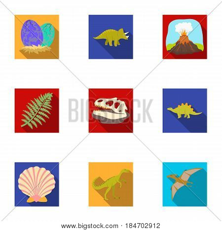 Ancient extinct animals and their tracks and remains. Dinosaurs, tyrannosaurs, pnictosaurs.Dinisaurs and prehistorical icon in set collection on flat style vector symbol stock web illustration.