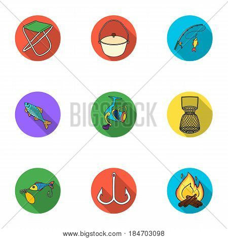 Summer and winter fishing, outdoor recreation, fishing, fish.Fishing icon in set collection on flat style vector symbol stock web illustration.