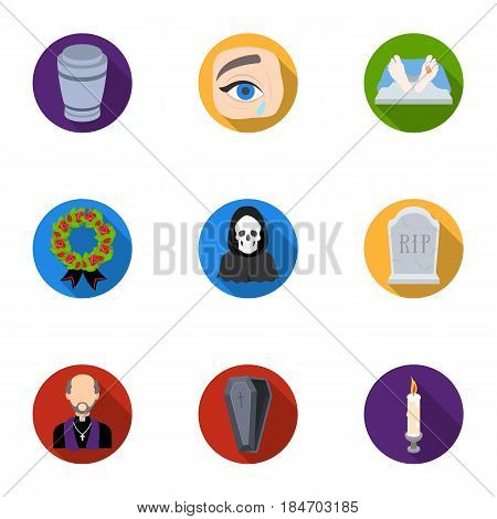 Funeral ceremony, cemetery, coffins, priest.Funeral ceremony icon in set collection on flat style vector symbol stock web illustration.