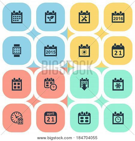 Vector Illustration Set Of Simple Time Icons. Elements Plant, 2016 Calendar, Agenda And Other Synonyms Smart, Reminder And Annual.