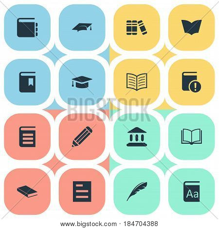 Vector Illustration Set Of Simple Books Icons. Elements Tasklist, Bookshelf, Blank Notebook And Other Synonyms Graduation, Textbook And Reading.