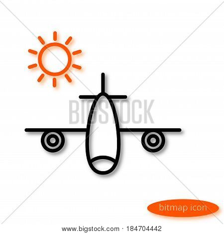 A simple  image of an airplane carrying vacationers and an orange sun, a flat line icon for a travel agency.
