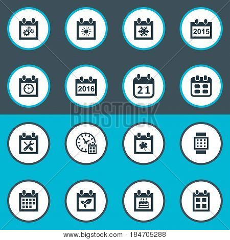 Vector Illustration Set Of Simple Date Icons. Elements Annual, Date Block, Intelligent Hour And Other Synonyms Spring, Time And Repair.