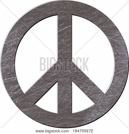Sign of pacifists with metal texture isolated on white