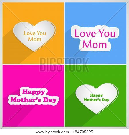 Illustration of set of elements of hearts with love you mom and happy mothers day text