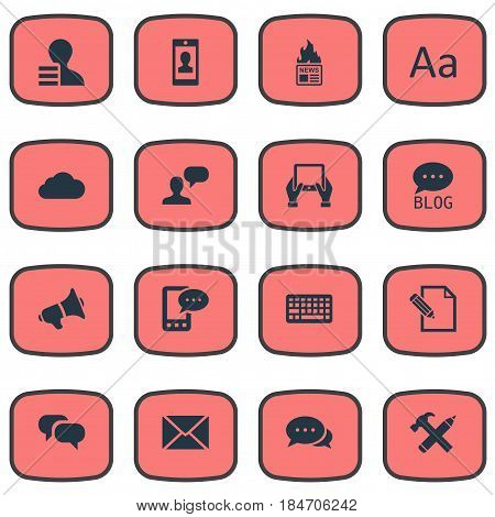 Vector Illustration Set Of Simple User Icons. Elements Gossip, Repair, Cedilla And Other Synonyms Overcast, News And Epistle.