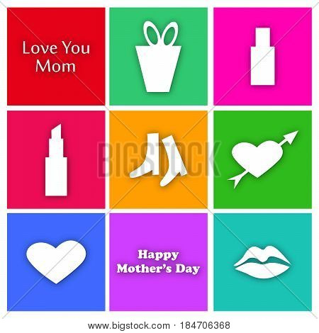 illustration of set of elements heart, lipstick, lips with love you mom text