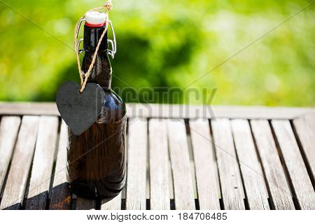 Beer bottle with heart around the bottle neck Father's Day