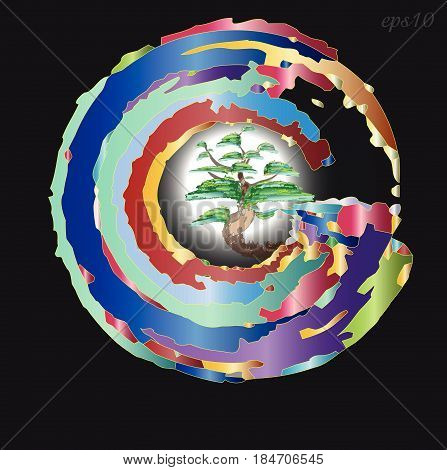 Emblem or logo tree in a circle Abstraction style art modern emblem or symbol tree with crown inside large circle moon shining behind motley pattern stock vector illustration