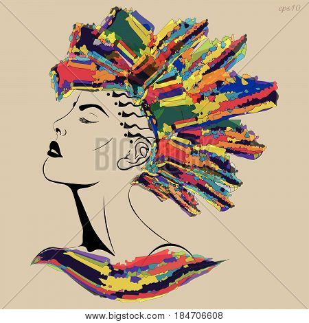 Girl with a mohawk haircut Portrait in profile of woman in profile with tattoo on head of hair modern style Motley elegant drawing