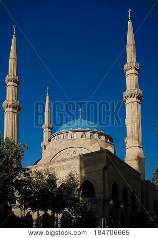 Exterior view to Mohammad Al-Amin Mosque in Beirut Lebanon