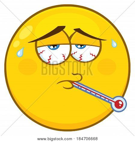 Sick Yellow Cartoon Face Character With Tired Expression And Thermometer. Illustration Isolated On White Background