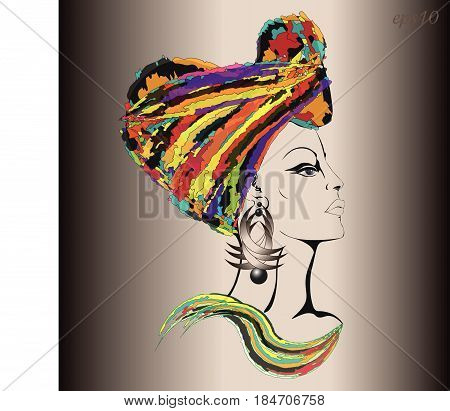 Woman in ethnic headgear Portrait of a woman in the profile of a gavel is shrouded in a bright cloth earring in the ear drawing in modern style author design vector