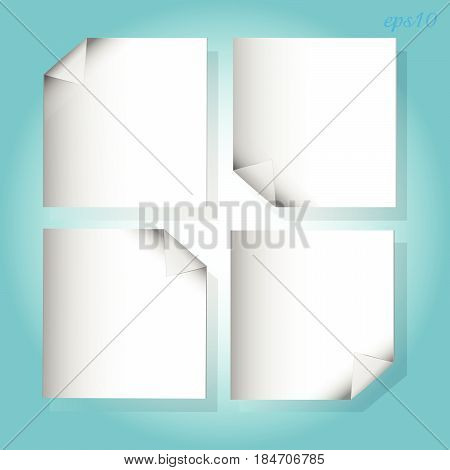 Four white pieces paper on blue White four sheets of paper with curled corners arranged parallel to the working surface color blue image text stock vector illustration
