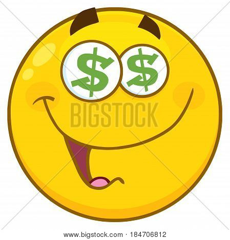 Yellow Cartoon Face Character With Dollar Eyes . Illustration Isolated On White Background