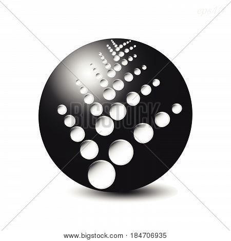 Black sphere with holes Large black ball of the suspension from the news on a white background with a shadow of an illusion of volume vector stock illustration of a print or logo