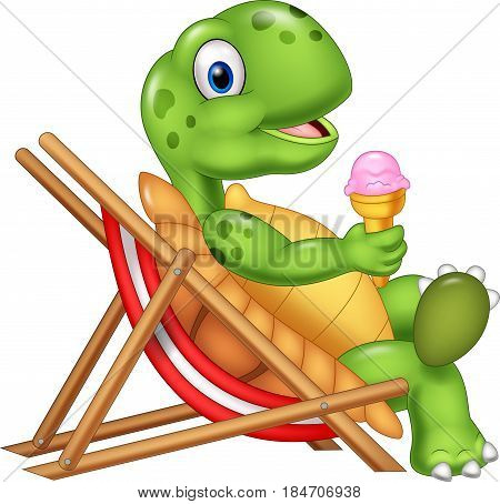Vector illustration of Cartoon turtle sitting on beach chair and holding an ice cream