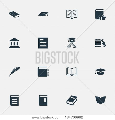 Vector Illustration Set Of Simple Reading Icons. Elements Encyclopedia, Library, Journal And Other Synonyms Academy, Encyclopedia And Library.