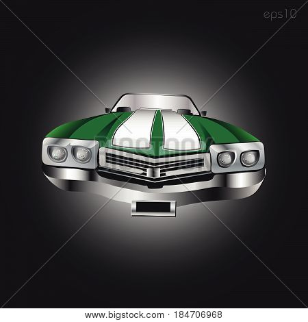 Green retro car Abstract car front view headlight windshield bumper author logo design symbol print postcard illustration vector stock