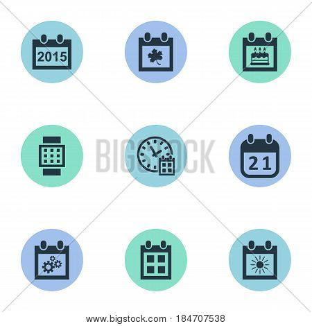 Vector Illustration Set Of Simple Plan Icons. Elements Special Day, Almanac, Intelligent Hour And Other Synonyms Birthday, History And Wheel.