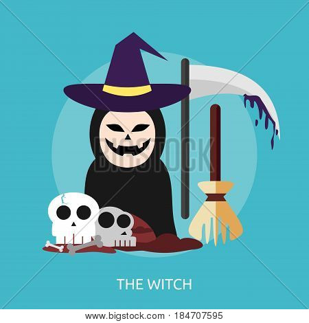 The Witch Conceptual Design Great flat illustration concept icon and use for halloween, holiday, horror, night and much more.