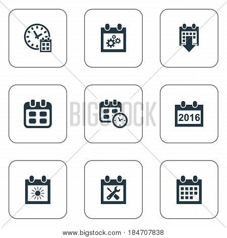 Vector Illustration Set Of Simple Time Icons. Elements Event, Date, Deadline And Other Synonyms Date, Repair And Gear.
