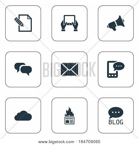 Vector Illustration Set Of Simple User Icons. Elements Notepad, E-Letter, Gazette And Other Synonyms Epistle, Cloud And Overcast.