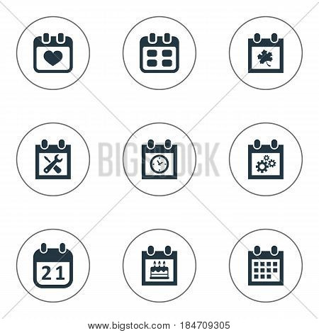 Vector Illustration Set Of Simple Plan Icons. Elements Event, Planner, Heart And Other Synonyms Wheel, Deadline And Planner.