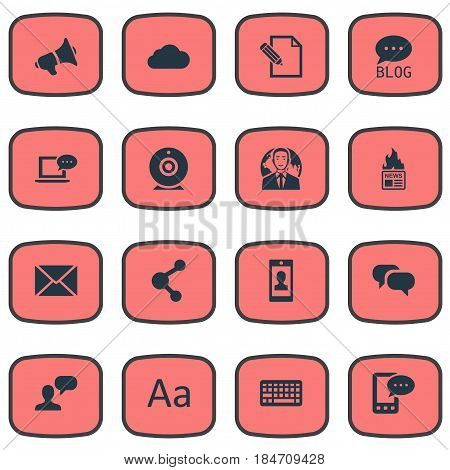 Vector Illustration Set Of Simple User Icons. Elements Site, Overcast, Share And Other Synonyms Coming, Laptop And Gossip.