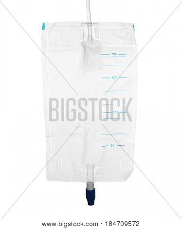 Urine collection bag isolated on white