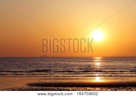 Beautiful sunset on the tropical beach and sea landscape