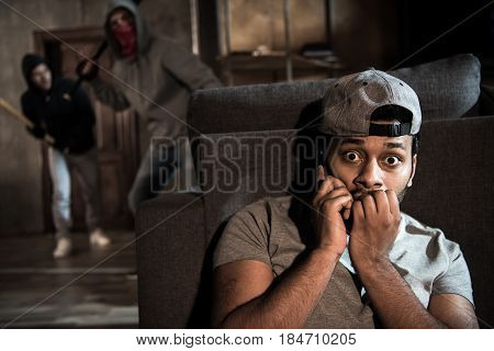 Burglars And Scared Man