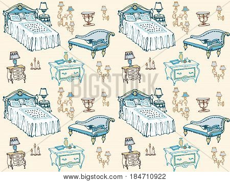 a set of seamless pattern bedroom furniture, beds, stool, chest of drawers, bedside table, lamp, candles, lampshades, pillows, blankets, home furnishings and decor, hand painted vector lines
