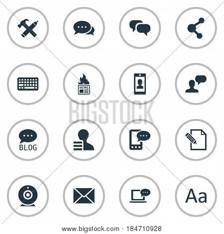 Vector Illustration Set Of Simple Blogging Icons. Elements Post, Gossip, Argument And Other Synonyms Missive, Gossip And Pencil.