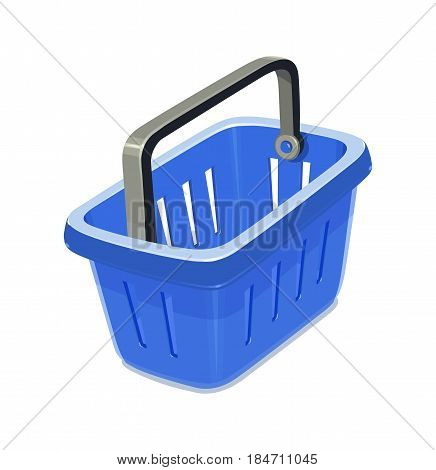 Blue plastic basket for shopping. Supermarket equipment. isolated white background. Eps10 vector illustration.