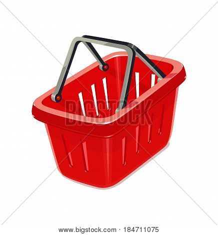 Red plastic basket for shopping. Supermarket equipment. isolated white background. Eps10 vector illustration.
