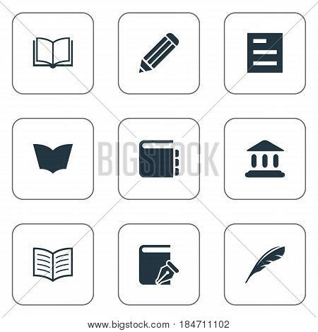 Vector Illustration Set Of Simple Knowledge Icons. Elements Journal, Book Page, Plume And Other Synonyms Write, Building And Quill.